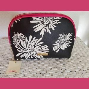 Trina Turk Black & White Floral Cosmetic Bag NWT